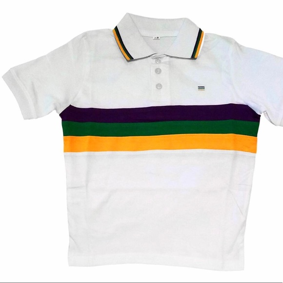8459b994 Mardi Gras Three Stripe Short Sleeve Polo Shirt. Boutique. Poree's  Embroidery